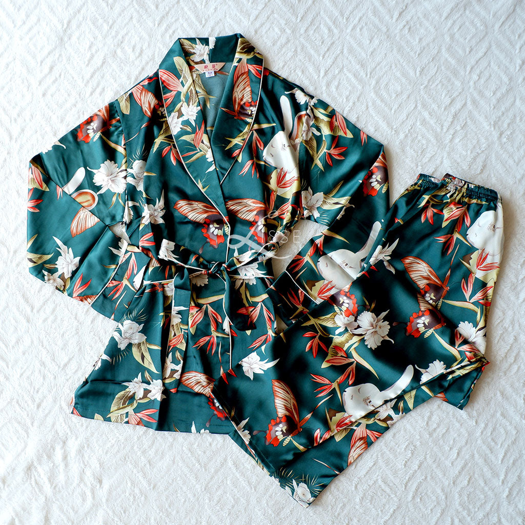 Silk Satin Long Sleeves Pajama Set with Rabbit & Floral Prints