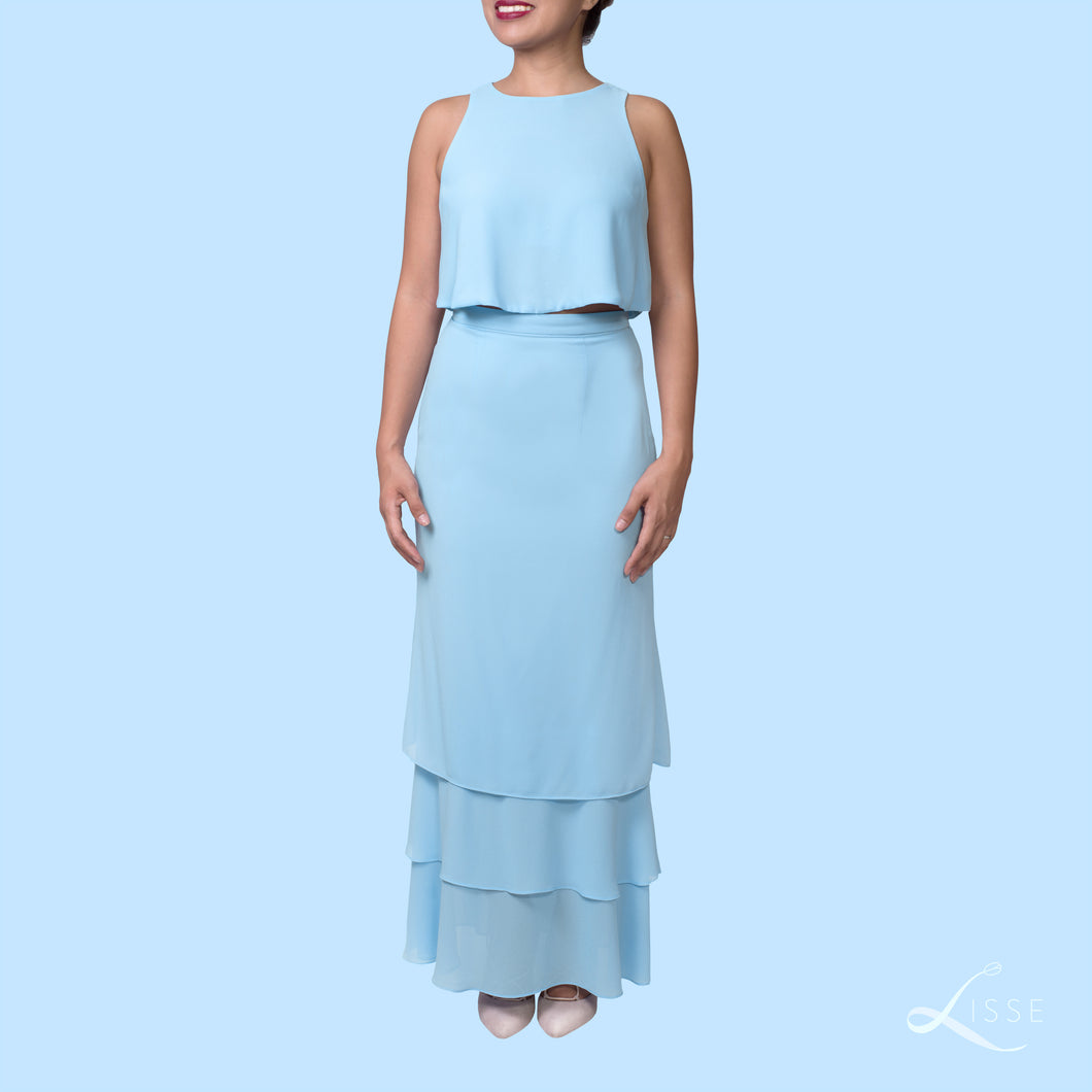 blue crop top and tiered ruffle skirt