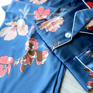 Blue Silk Satin Long Sleeves Pajama Set with Coral Floral Print