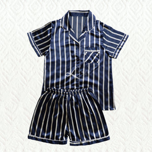 Navy Stripes Short Pajama Set (His or Hers)