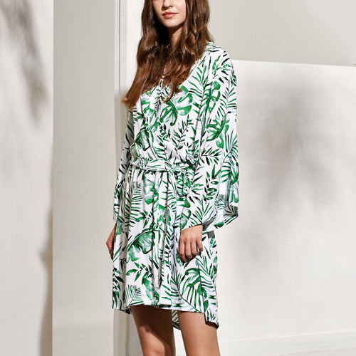 Tropical Leaves Cotton Robe