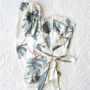 Silk Satin Long Sleeves Pajama Set with Tropical Leaves Print