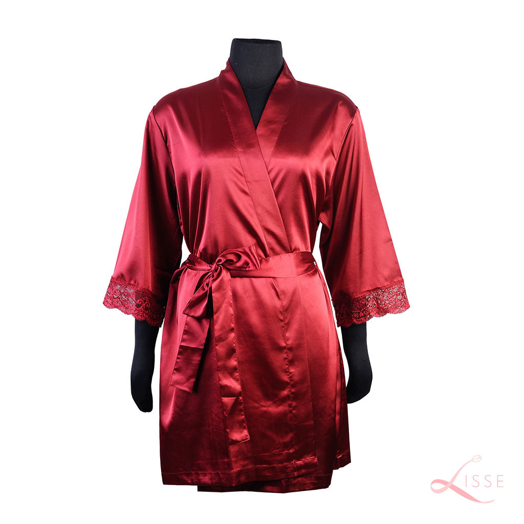 Wine Classic Robe with Lace Trim