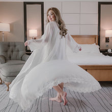 white long dressing gown with lace trim for wedding