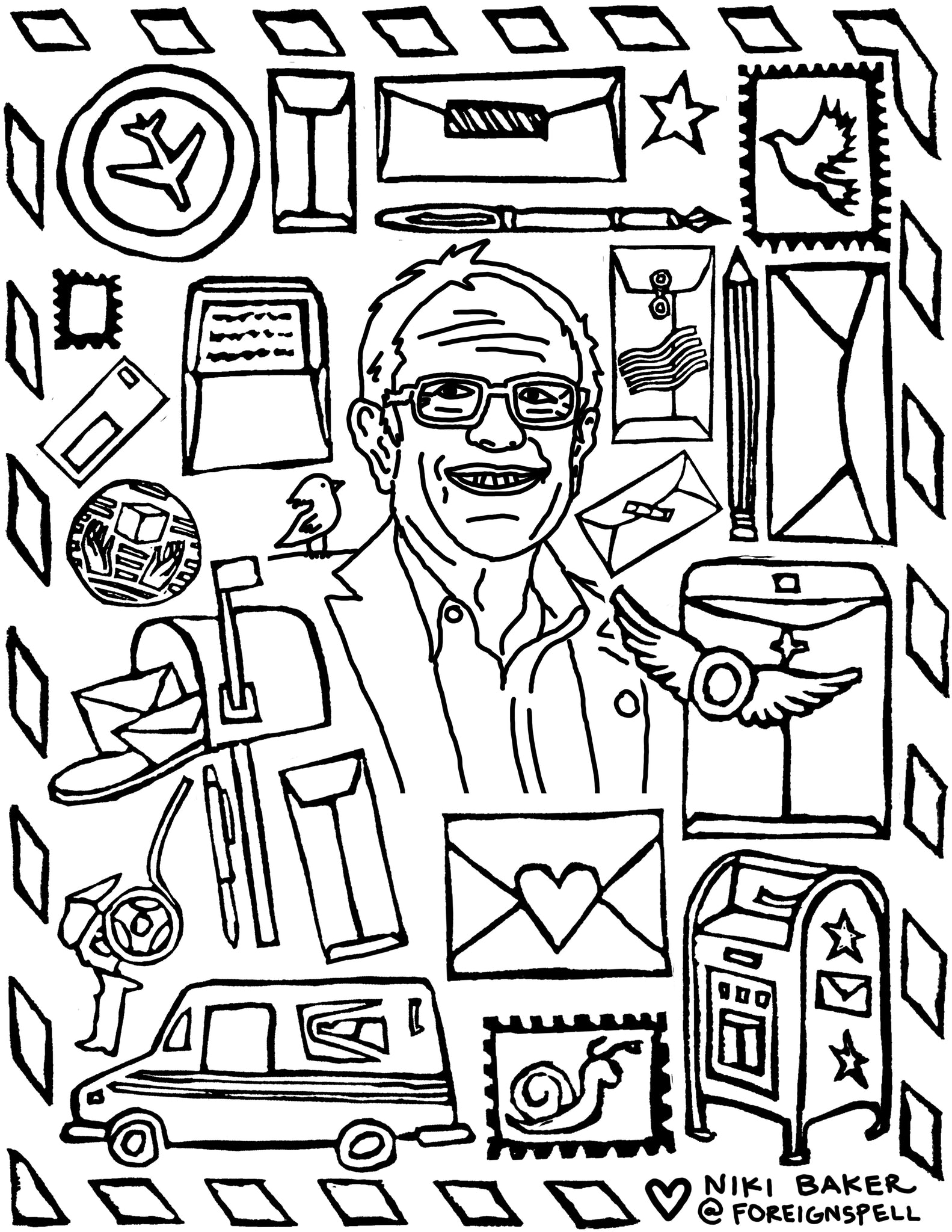 Bernie Sanders Self-Care Activity Book Coloring Page