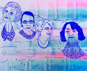 mount rushmore, but with female supreme court justices. drawn by hand in blue ink and a pink, turquoise and blue fade in the background.