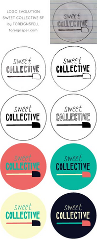 sweet collective hand-lettered and illustrated logo by niki baker of foreignspell