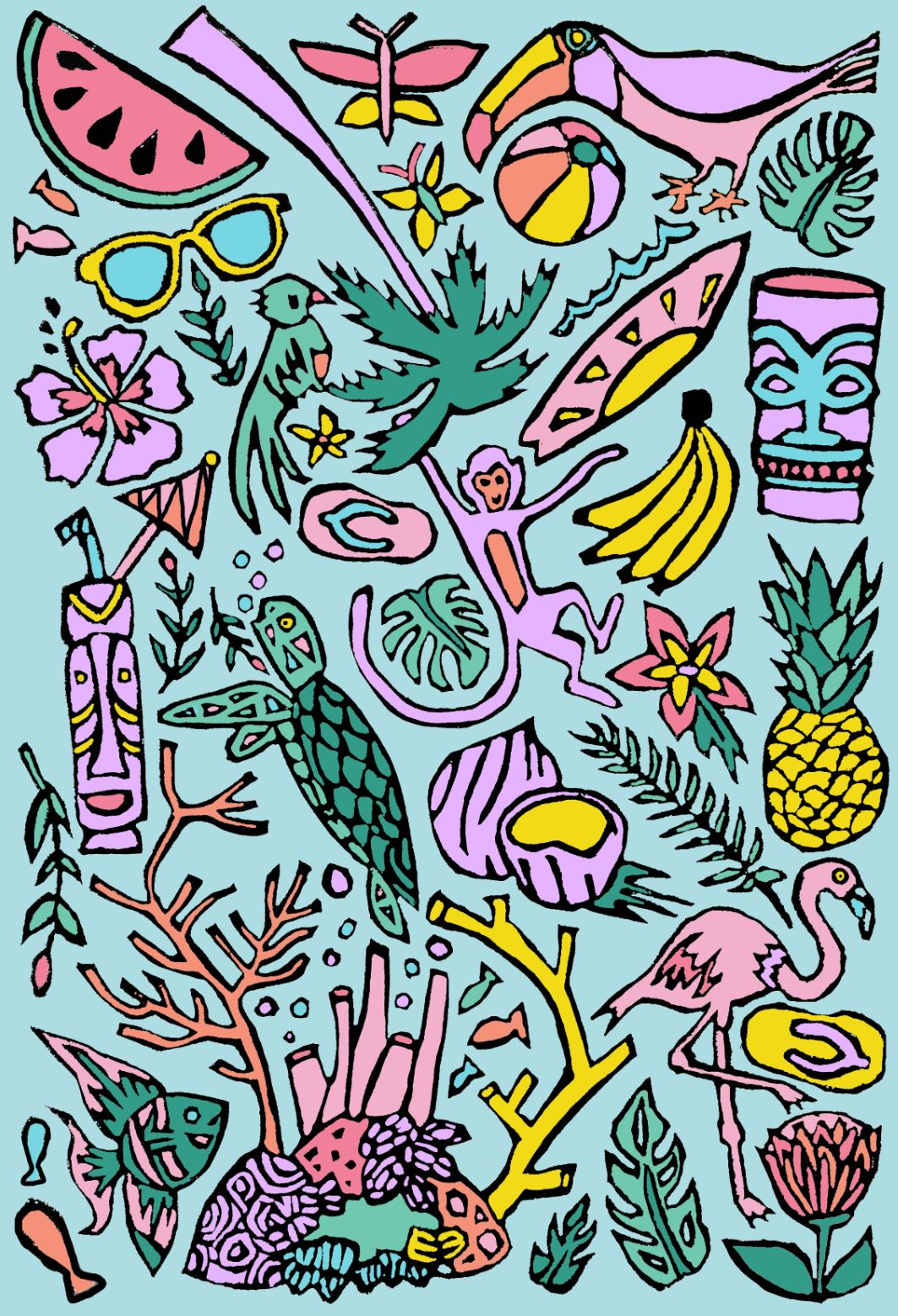 Tropical Coloring Page Digital Download