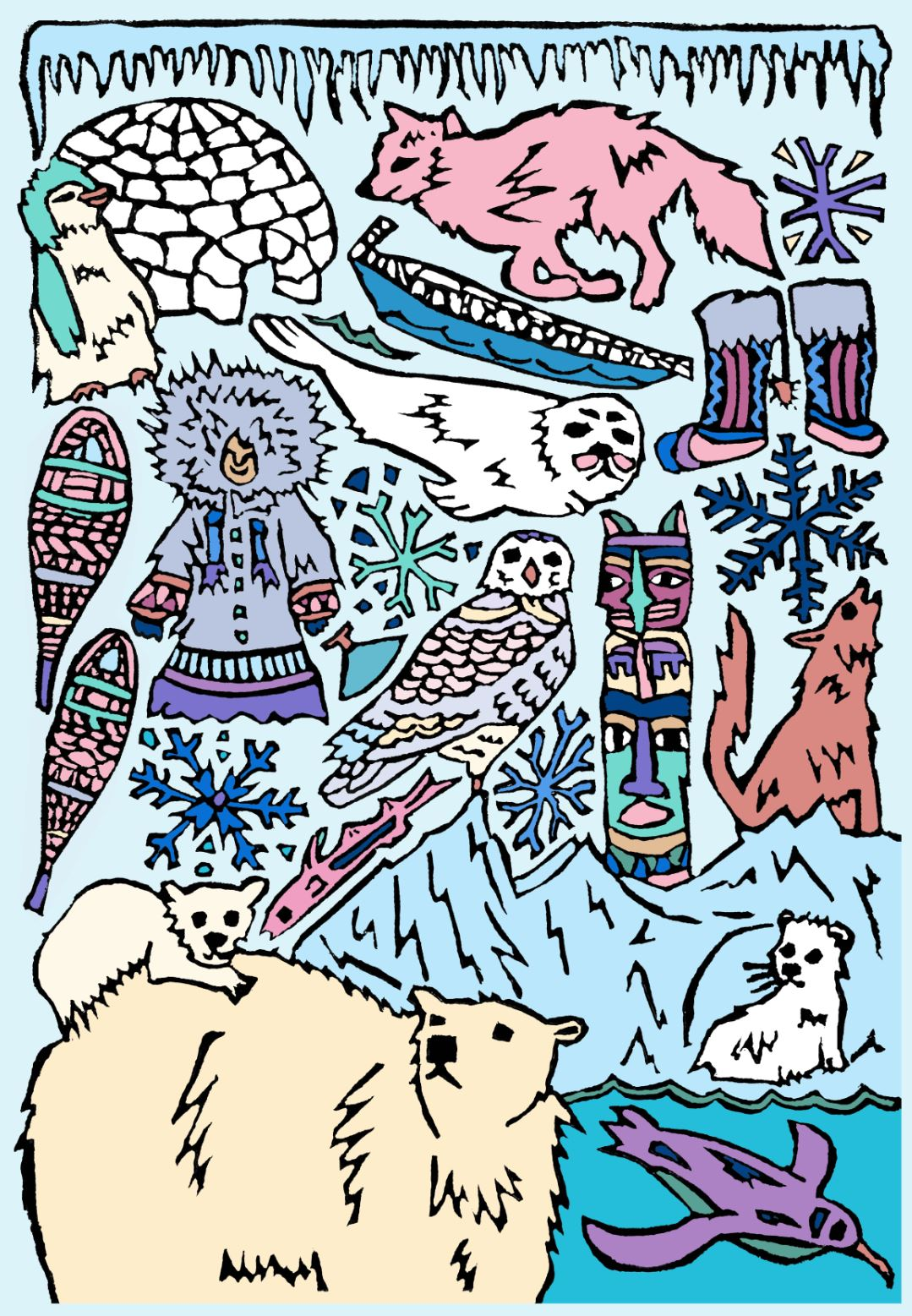 Arctic Coloring Page Digital Download