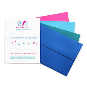 foreignspell back of card design and many colorful envelopes