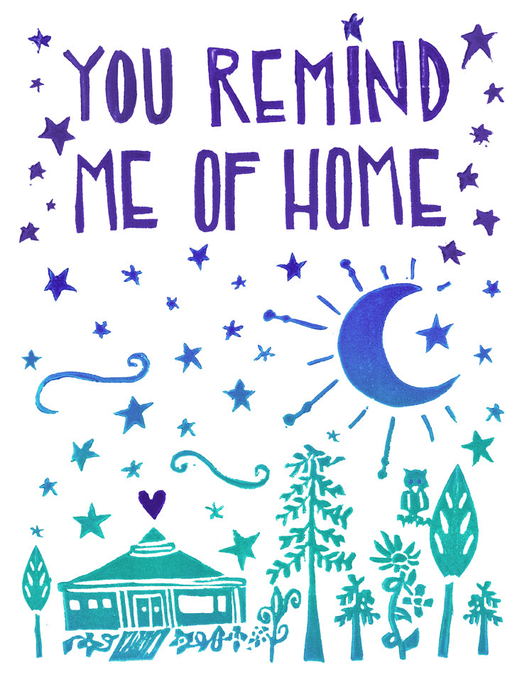 You Remind Me Of Home Greeting Card Inspired By Music