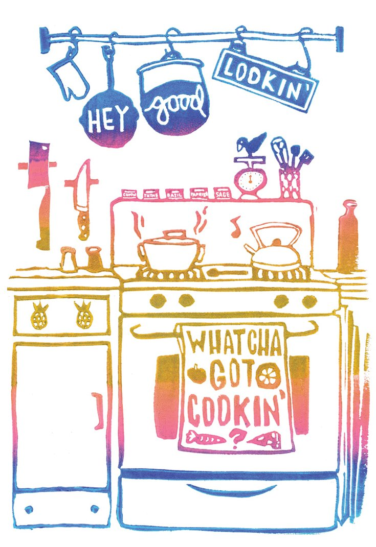 a block printed kitchen in blue, pink & gold with pots, pans, a stove & oven, scale, spices and more with a tea towel featuring the lyrics hey good lookin' whatcha got cookin?