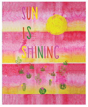 "greeting card inspired by song lyrics with bright, handpainted yellow sun and green succulents with pink and red flowers drawn on a red and pink fade featuring text that says ""sun is shining"" in red, pink and green block letters on bright white paper with a complementary colored envelope - detail of design"