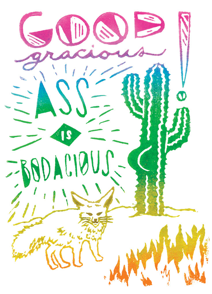 Good Gracious Ass Is Bodacious Greeting Card 6-Pack Inspired By Music
