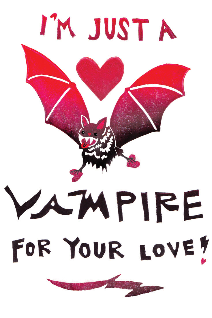 I'm Just A Vampire For Your Love Greeting Card 6-Pack Inspired By Music