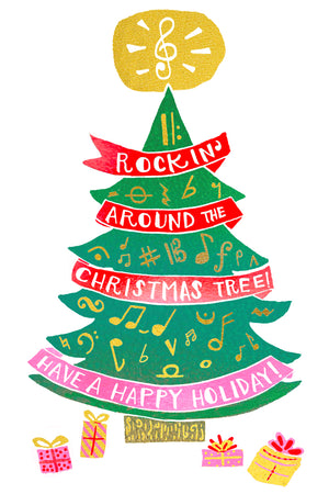 Rockin' Around the Christmas Tree Have a Happy Holiday Greeting Card 6-Pack Inspired By Music