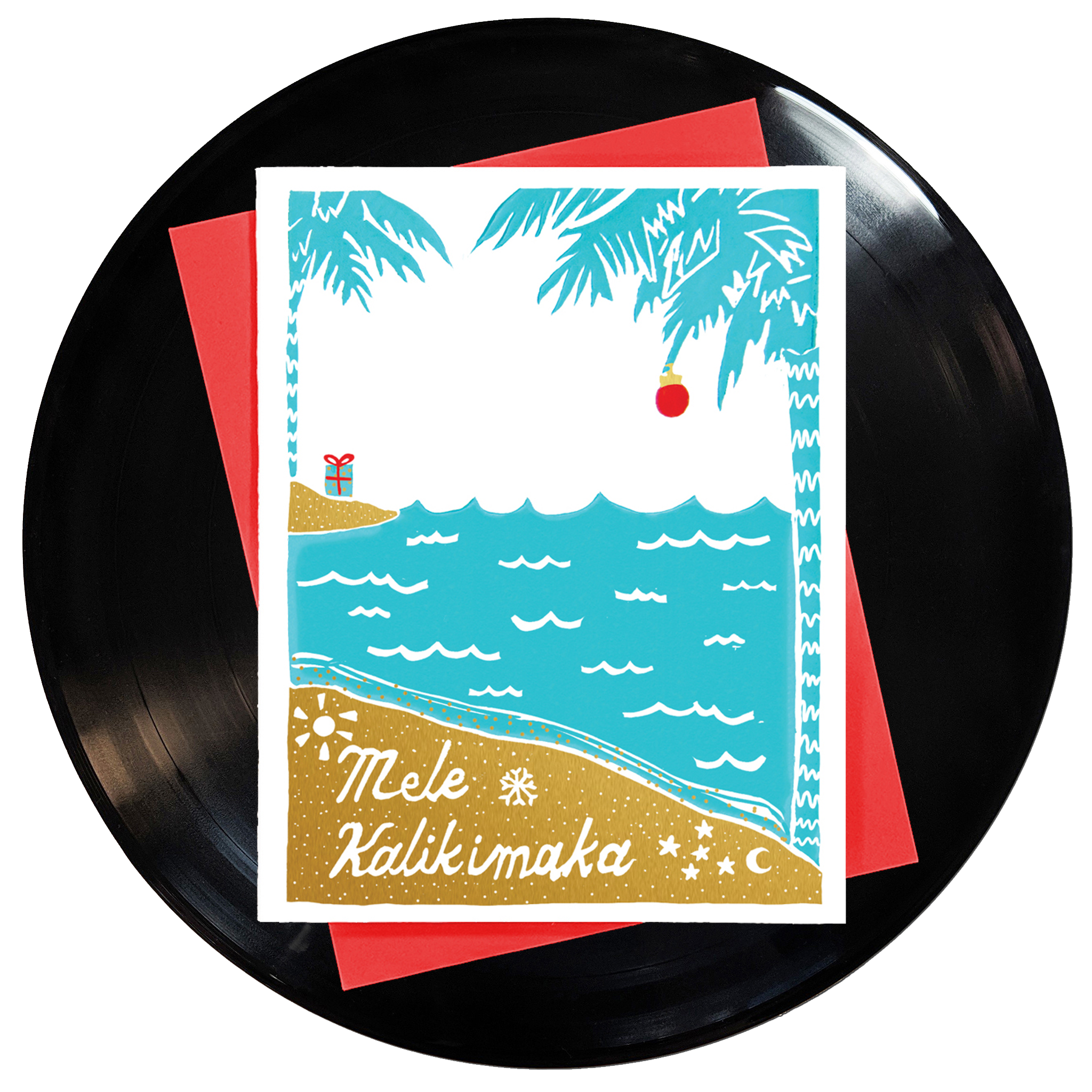 a block printed beach scene with palm trees and blue hawaiian ocean, a single red ornament hanging from a palm tree and a present on an island with the lyrics mele kalikimaka hand-lettered in the style of kona brewing company typography made by Niki Baker, the illustrator at foreignspell