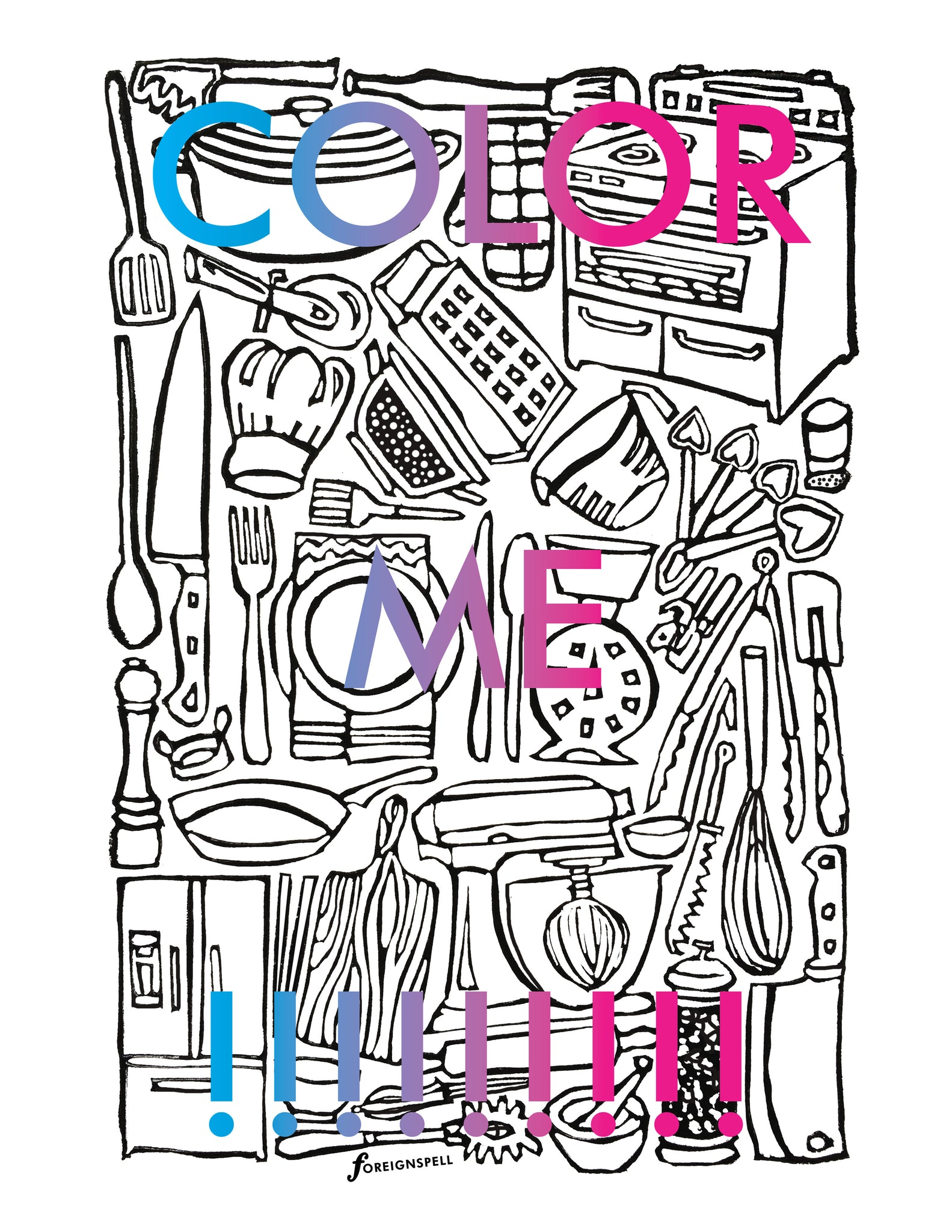 Kitchen Coloring Page Digital Download