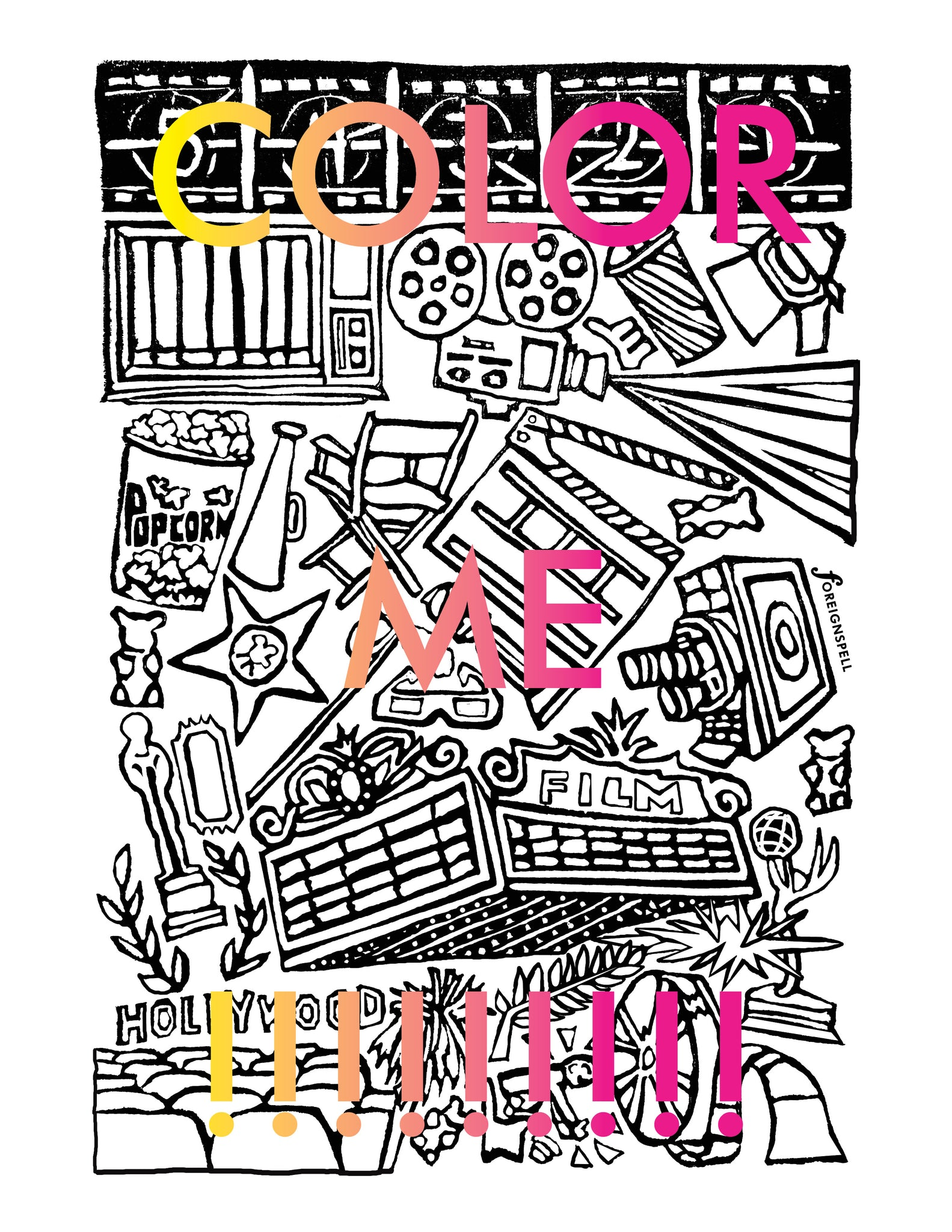 Movie Time Coloring Page Digital Download