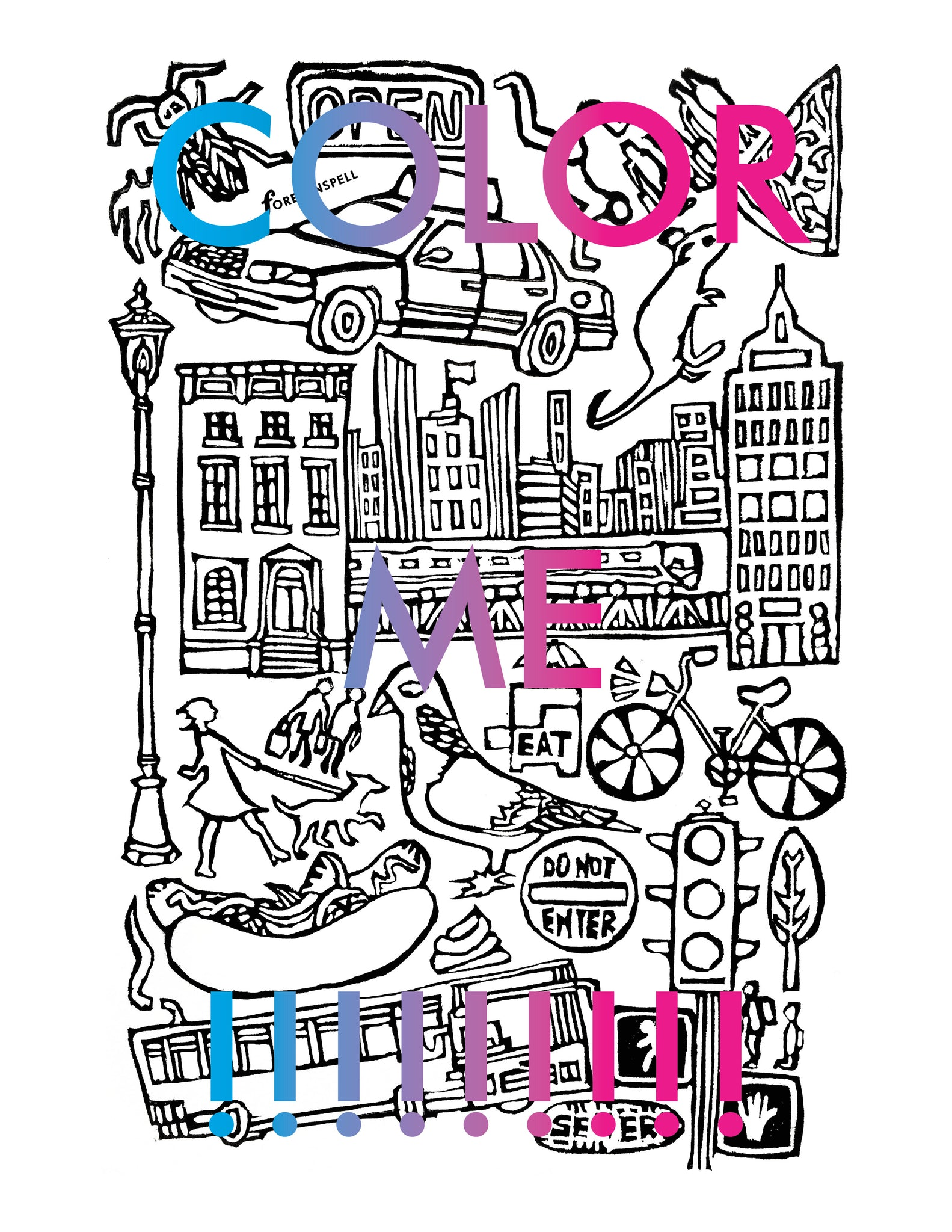 City Life Coloring Page Digital Download