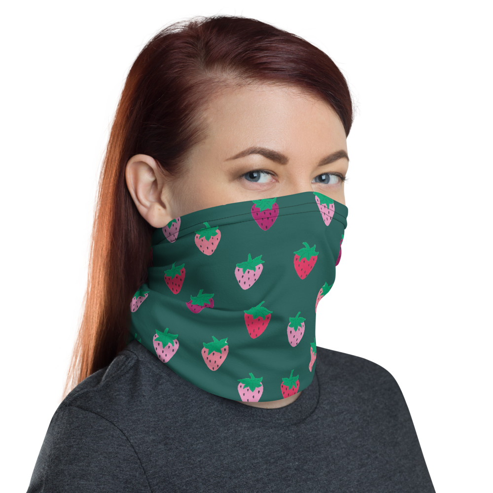 Green Strawberry Patch Neck Gaiter