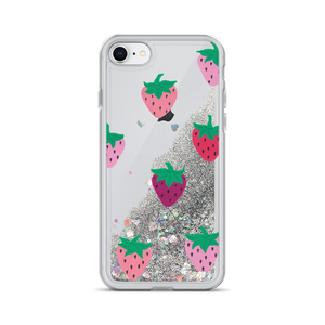 Strawberry Patch Liquid Glitter Phone Case