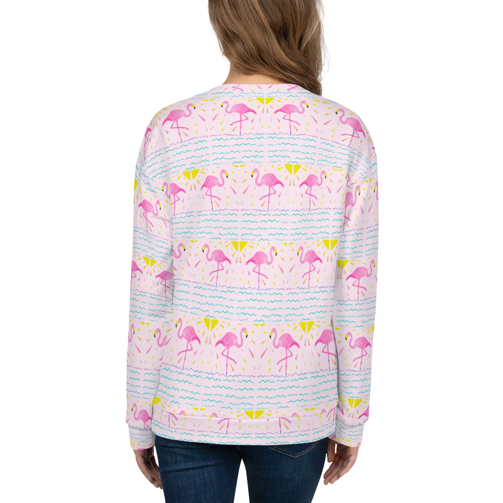 Bright Flamingo Rays Pattern Sweatshirt