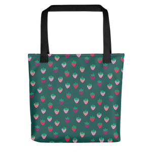 Green Strawberry Patch Tote Bag