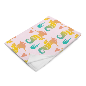Royal Seahorse Throw Blanket