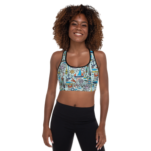 Nautical Drifts Padded Sports Bra