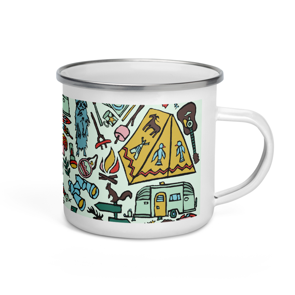 Whimsical Wilderness Enamel Camping Mug