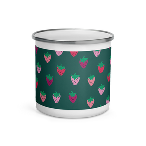 Green Strawberry Patch Enamel Camping Mug