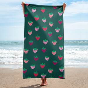 Green Strawberry Patch Towel