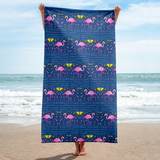 Midnight Flamingo Rays Towel