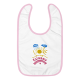 There Is Love In My Rainbow Embroidered Baby Bib