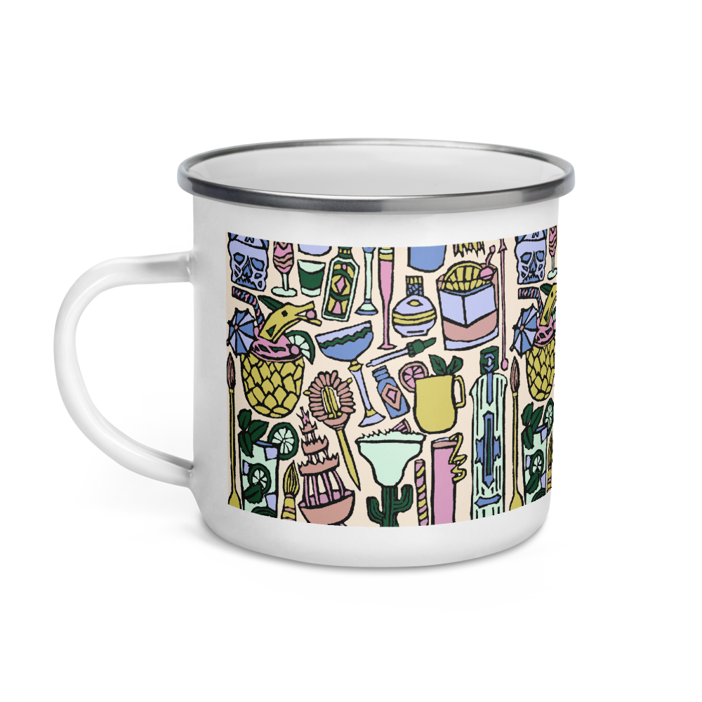 Cocktail Hour Enamel Camping Mug