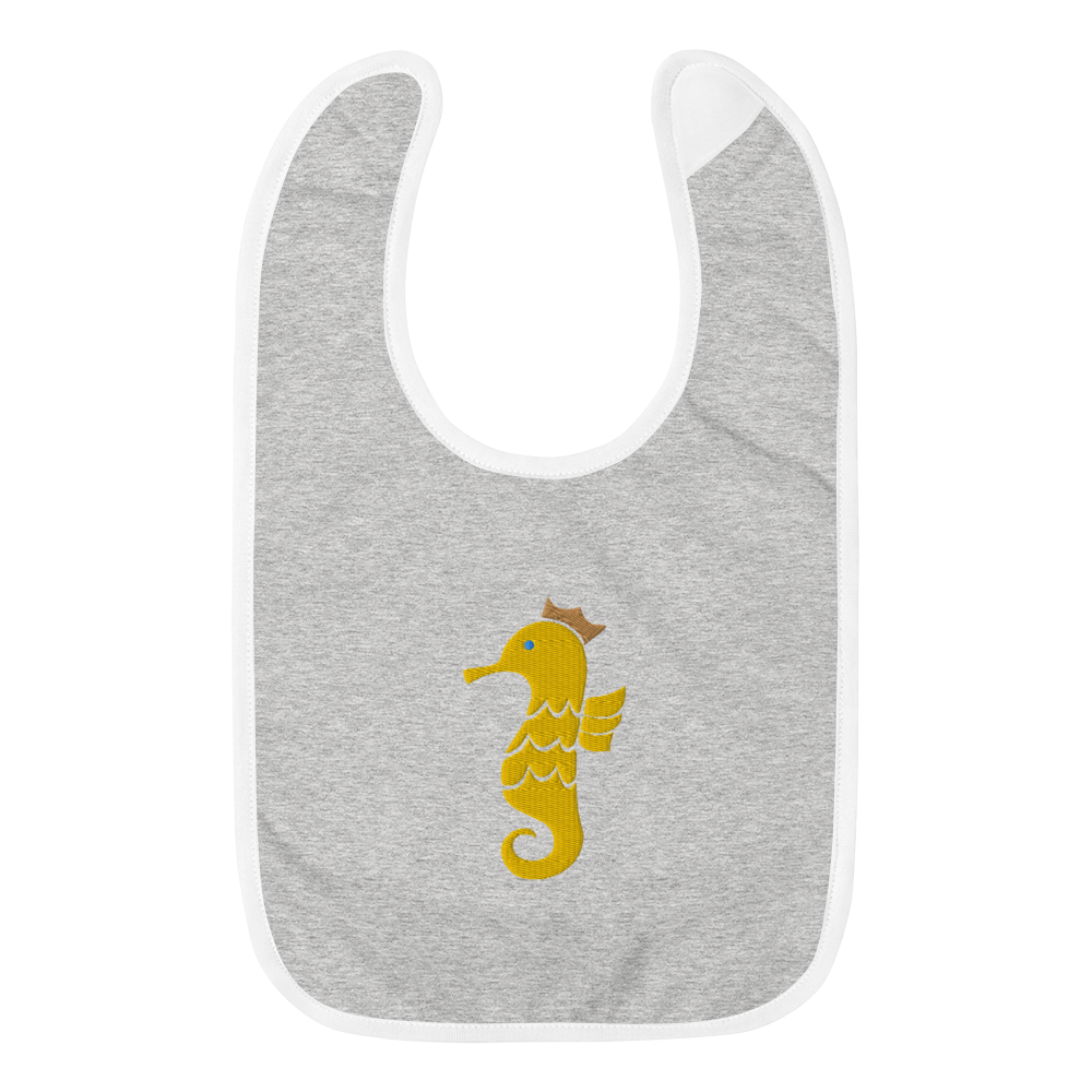 Royal Seahorse Embroidered Bib