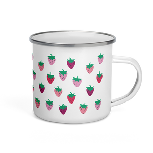 Strawberry Patch Enamel Camping Mug