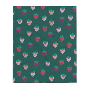 Green Strawberry Patch Throw Blanket