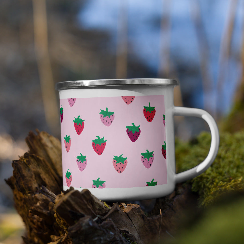 Pink Strawberry Patch Enamel Camping Mug