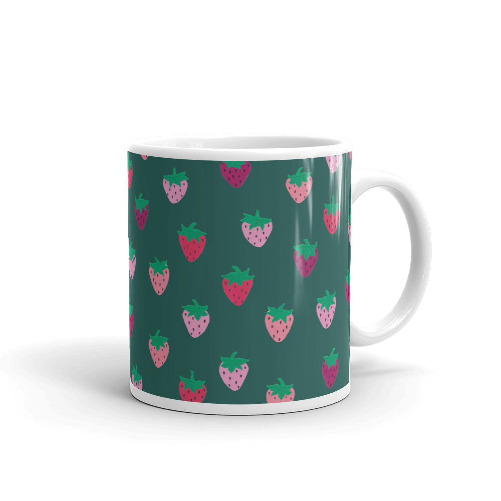 Green Strawberry Patch Mug