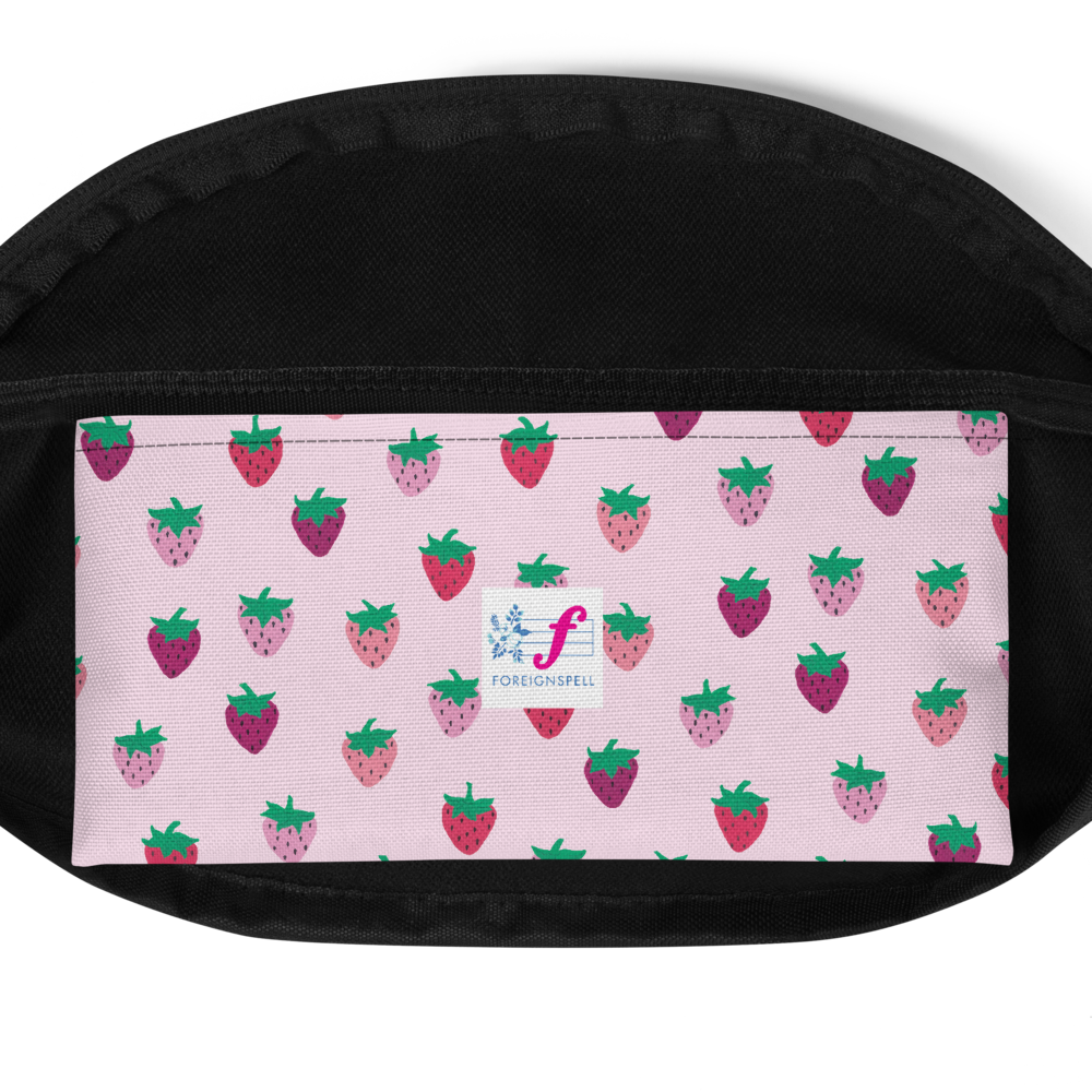 Green Strawberry Patch Fanny Pack