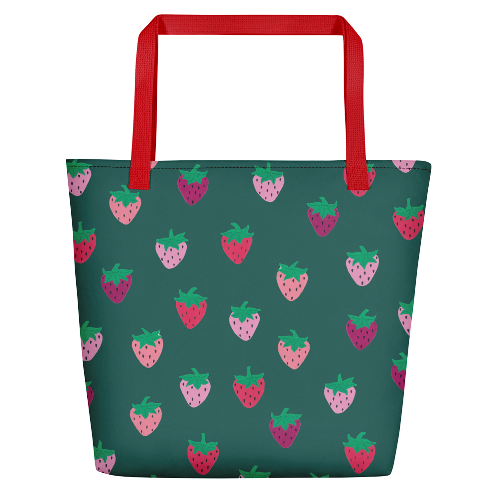 Green Strawberry Patch Beach Bag