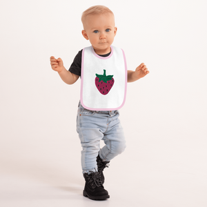 Strawberry Embroidered Bib