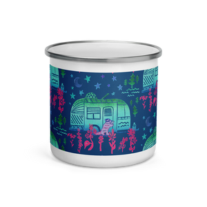 Rascal Raccoon & Airstream Midnight Dreams Enamel Camping Mug