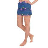 Moonlight Flamingo Rays Athletic Short Shorts