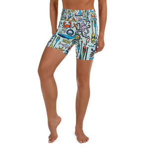 Nautical Drifts Yoga Shorts