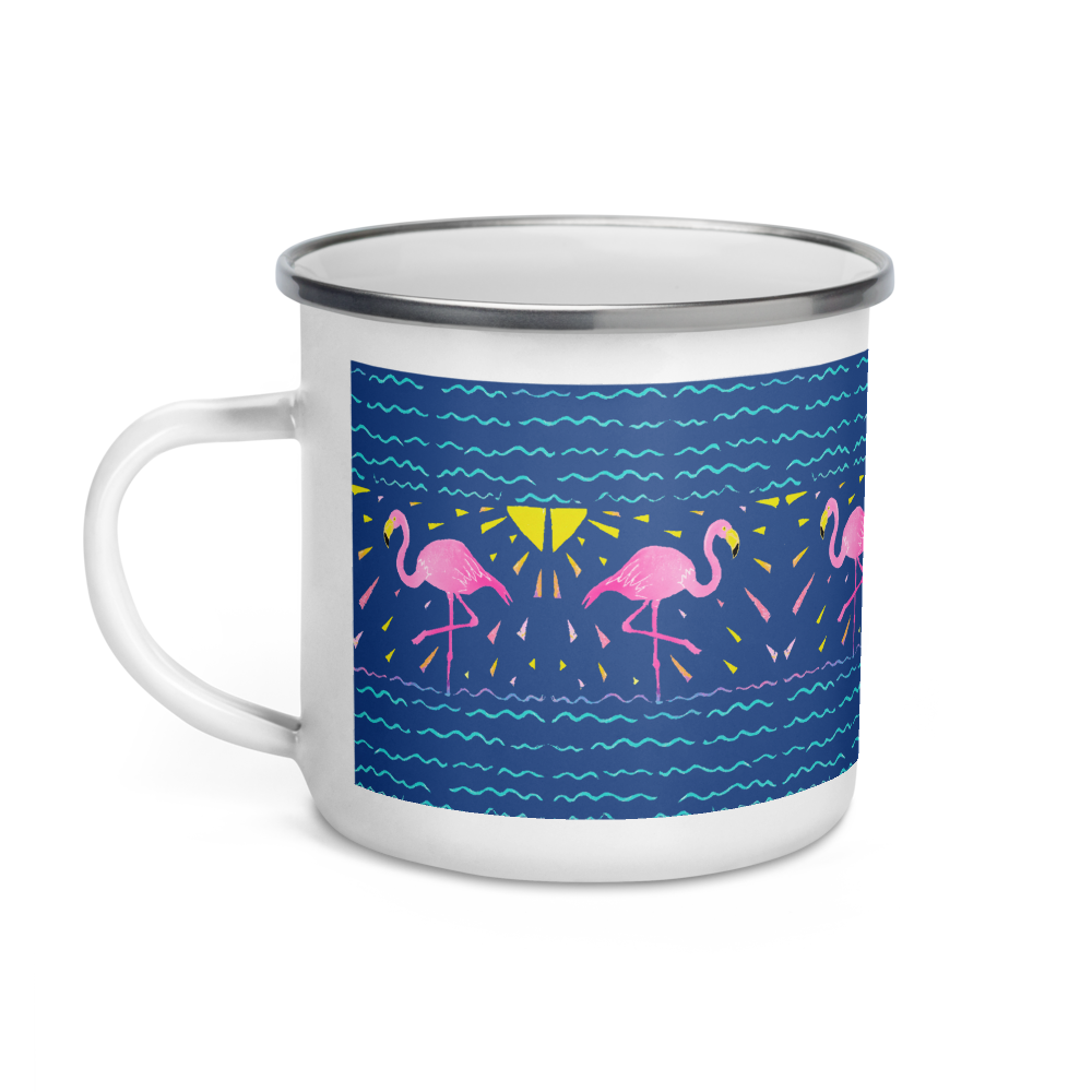Moonlight Flamingo Rays Enamel Camping Mug
