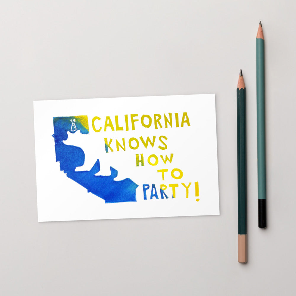 California Knows How To Party Standard Postcard