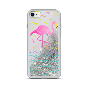 Flamingo Rays Liquid Glitter Phone Case